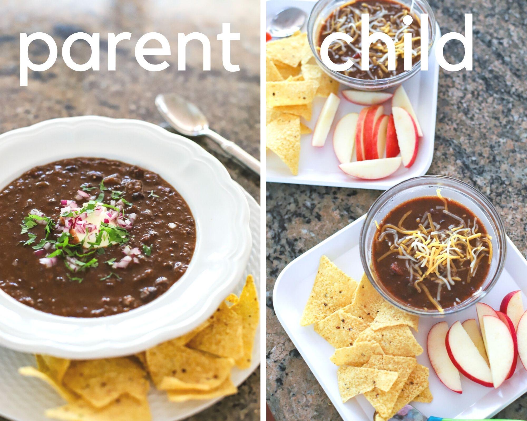 one meal family dinner- black bean soup
