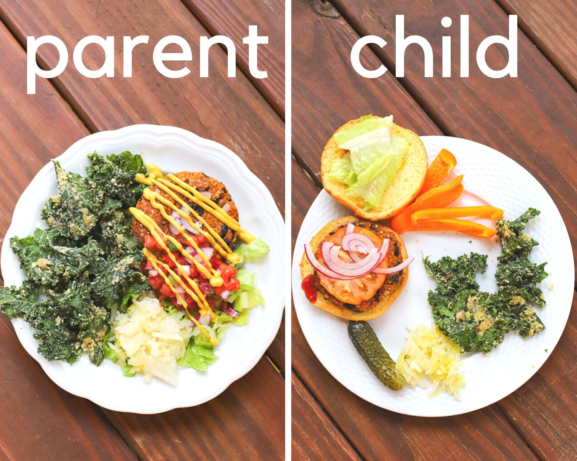 one meal family dinner- veggie burgers